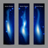 Set of vertical banners with abstract blue fire. On black background Stock Photography