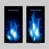 Set of vertical banners with abstract blue fire. On black background Stock Photos