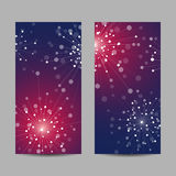 Set of vertical banners. Abstract geometric background with connected lines and dots in a shape of fireworks. Vector illustration Stock Photos