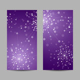 Set of vertical banners. Abstract geometric background with connected lines and dots in a shape of fireworks. Vector illustration Stock Photography