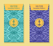 Set Vertical banners with abstract waves in blue marine Royalty Free Stock Photography