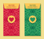 Set Vertical banners with abstract waves in red green Royalty Free Stock Photography