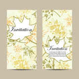 Set of vertical banners. Autumn leaves with floral pattern on beige background. Vector illustration Royalty Free Stock Images