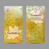 Set of vertical banners. Autumn leaves with floral pattern on yellow background. Vector illustration Royalty Free Stock Photography