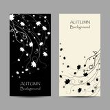 Set of vertical banners. Autumn maple leaves on white and black backgrounds. Vector illustration.  stock illustration