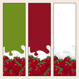 Set of  Vertical  Banners with Berry Strawberry Stock Images