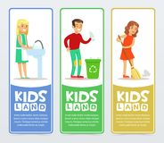 Set of vertical banners with children characters doing household chores washing dishes, sweeping the floor, throwing Royalty Free Stock Photography