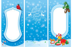 Set of vertical banners - Christmas and New Year cards with bull. Finch bird, frame, fir tree branches and presents Royalty Free Stock Photos
