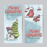 Set of vertical banners for Christmas and the new year with a pi. Cture of a snowman and bullfinch on the branch Stock Photography
