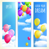 Set of Vertical Banners with Colorful Balloons. Vector illustration, . Stock Image