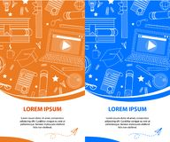 Set of Vertical Banners, Copy Space. School Stuff royalty free illustration