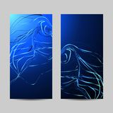Set of vertical banners. Curved wavy lines on blue background.  stock illustration