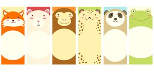 Set of vertical banners with cute animals stock illustration