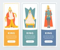 Set of vertical banners with different funny kings wearing golden crowns and mantles. Cartoon flat characters. Design for website, mobile app, card or poster Royalty Free Stock Images