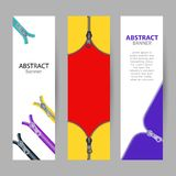 Set vertical banners with empty place for text. open and closed vector illustration