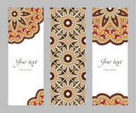 Set of vertical banners ethnic. Set of narrow vertical banners with decorative circular ethnic elements on a white background, orange red brown beige black Stock Photos