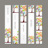 Set of vertical banners with floral tree Stock Photography