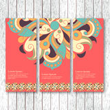 Set of vertical banners, flyers, cards with hand drawn abstract Stock Photos