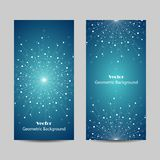 Set of vertical banners. Geometric pattern with connected lines and dots. Vector illustration on blue background Royalty Free Stock Images