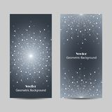 Set of vertical banners. Geometric pattern with connected lines and dots. Vector illustration on gray background Royalty Free Stock Photo