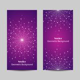Set of vertical banners. Geometric pattern with connected lines and dots. Vector illustration on violet background Stock Photo