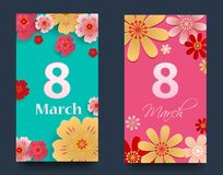 Set of vertical banners for the International Women`s Day. Flyers March 8 with the decor of flowers. Invitations with floral fram. E for the Women`s Day. Vector vector illustration