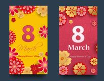 Set of vertical banners for the International Women`s Day. Flyers March 8 with the decor of flowers. Invitations with floral fram. E for the Women`s Day. Vector stock illustration