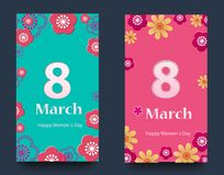 Set of vertical banners for the International Women`s Day. Flyers March 8 with the decor of flowers. Invitations with. Floral frame for the Women`s Day. Vector royalty free illustration