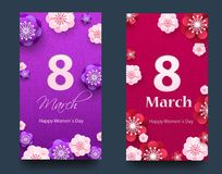 Set of vertical banners for the International Women`s Day. Flyers March 8 with the decor of flowers. Invitations with. Floral frame for the Women`s Day. Vector stock illustration