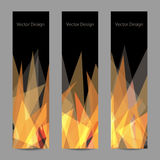 Set of vertical banners. A set of modern vector banners with abstract triangular flame on black background Stock Photography