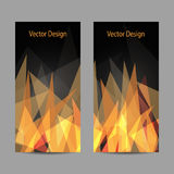 Set of vertical banners. A set of modern vector banners with abstract triangular flame on black background Royalty Free Stock Image