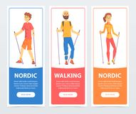 Set of banners with people Nordic walking. Health-promoting physical activity. Teenager boy, man and woman characters. Set of vertical banners with people Nordic Stock Image