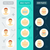 Set of vertical banners. Plastic surgery concept. Flat design. Vector Stock Image