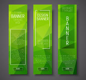 Set of vertical banners with polygonal green background Stock Images