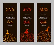 Set of vertical banners with pumpkins sale Stock Photography