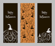 Set of vertical banners with pumpkins. SSet of two-color abstract vertical banners with abstract patterns pumpkin for Halloween, harvest festival or party Royalty Free Stock Photography