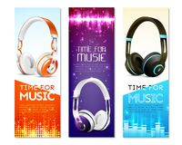 Realistic Earphones Vertical Banners. Set of vertical banners with realistic earphones with headband, sound wave, digital equalizer, sparkles isolated vector Stock Photos