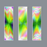 Set of Vertical Banners with Realistic Holographic Effect   Royalty Free Stock Images