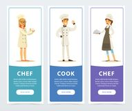 Set of vertical banners with restaurant workers. Vector illustration set of vertical banners with restaurant workers chef, cook, restaurateur. Cartoon design Stock Photos