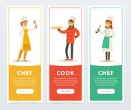 Set of vertical banners with restaurant workers. Vector set of vertical banners with restaurant workers chef, cook, restaurateur. Flat people in uniform with Royalty Free Stock Image