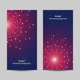 Set of vertical banners. Geometric pattern with connected lines and dots. Vector illustration on blue background Royalty Free Stock Photo