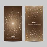 Set of vertical banners. Geometric pattern with connected lines and dots. Vector illustration on brown background Stock Photography