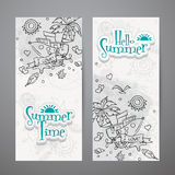 Set of vertical banners  with summer doodles Stock Images