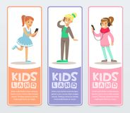 Set of vertical banners with teenagers using modern gadgets, talking on the phone, listening to music. Flat cartoon Stock Photos