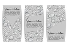 Collection of banners with rain drops. A set of vertical banners with translucent dew on a transparent backdrop. Vector background with water drops for Royalty Free Stock Image