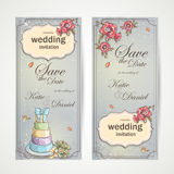Set of vertical banners wedding invitations with red poppies, cake and a bouquet of roses Royalty Free Stock Photo