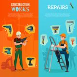 Construction Workers Vertical Banners Stock Photos