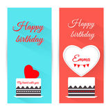 Set of vertical birthday greeting banner with cake. Flat design. Stock Image