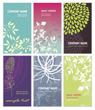 Set of vertical business cards. With floral elements Stock Image