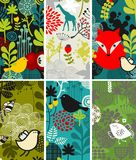 Set of vertical cards with birds and animals. Stock Image